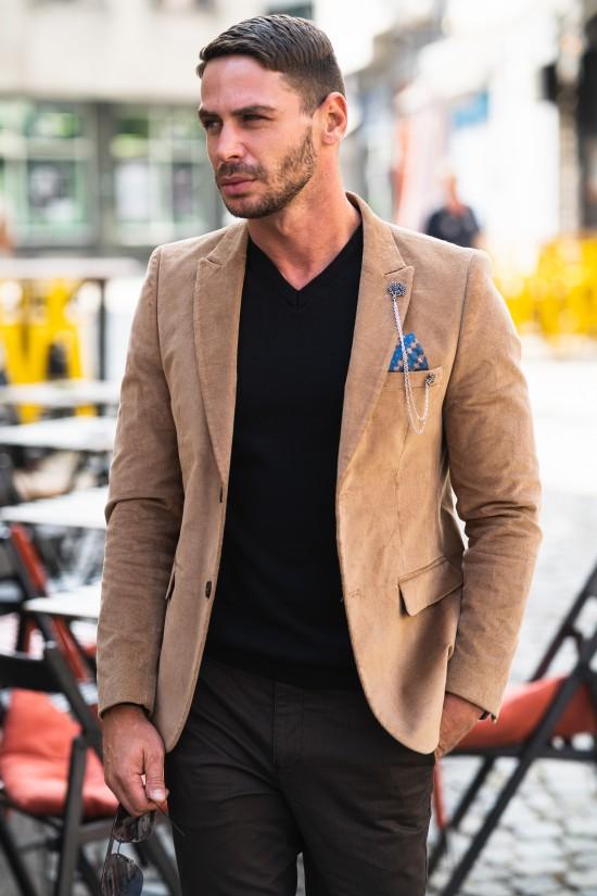 Вталено мъжко сако светло кафяво кадифе