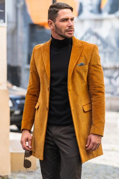 Вталено мъжко сако-манто в цвят камел