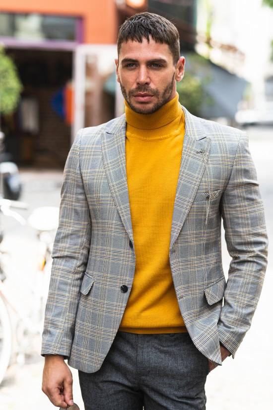 Вталено мъжко сако светло сиво каре