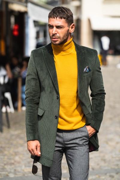 Вталено мъжко сако-манто зелено кадифе