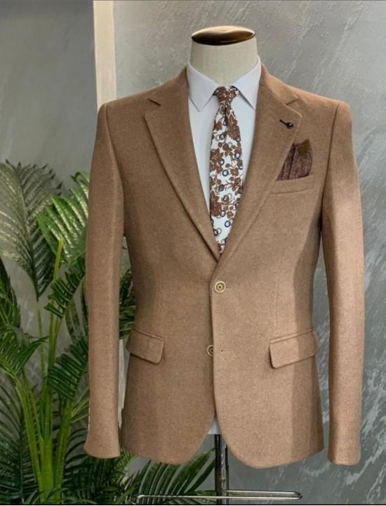 Вталено мъжко сако-палто цвят Капучино рибена кост