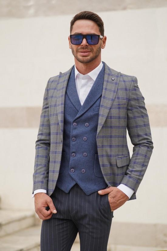 Вталено мъжко сако сиво със синьо каре
