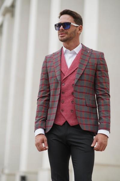 Вталено мъжко сако сиво с червено каре