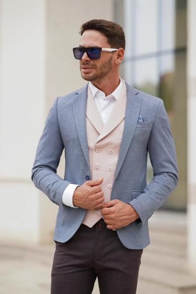 Вталено мъжко сако в светлосин цвят
