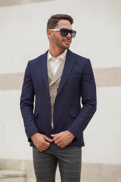 Вталено мъжко сако в тъмносин цвят ОКСФОРД