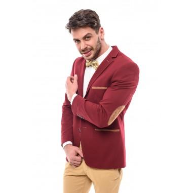 Вталено мъжко сако бордо трико с кръпки