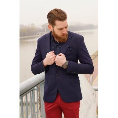 Вталено мъжко сако в тъмносин цвят