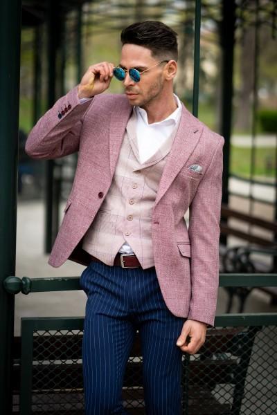 Вталено мъжко сако в цвят пепел от рози и структура